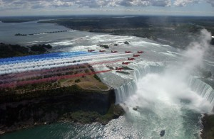 Red Arrows over Niagra Falls Canada