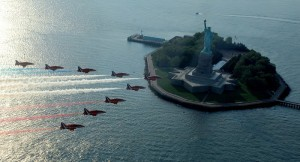 Red Arrows over the Statue of Liberty